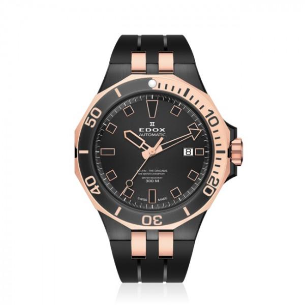 Edox Delfin Diver Date Automatic Rose Black - 80110-357NRCA-NIR