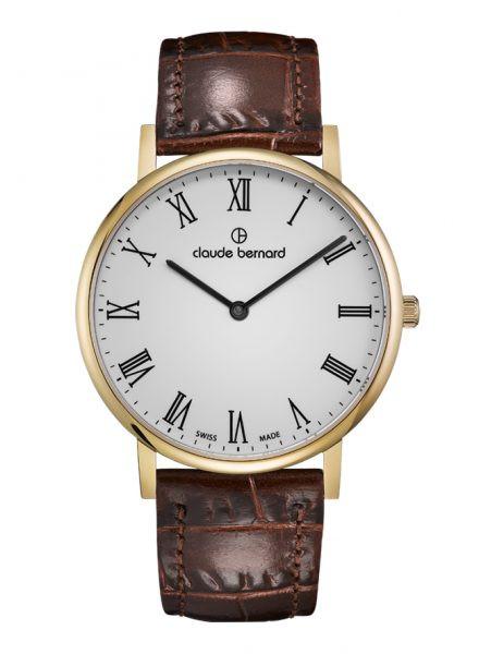 Claude Bernard Classic Slim Line Gold Weiss Quarz Uhr - 20219-37J-BR