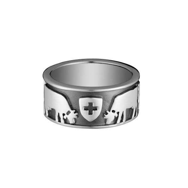 Gexist Swiss Edelweiss Ring Kühe Swiss Flag - R-9028