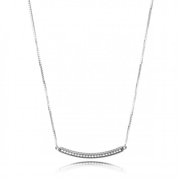 PANDORA Pendant Hearts of Pandora Bar Necklace - 397420CZ-50