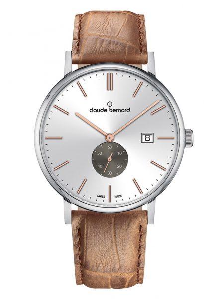 Claude Bernard Slim Line Small Second Silber Rose Quarz Uhr - 65004-3-AIRG