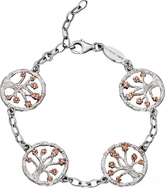 Armband Lebensbaum Silber rhodiniert mit Blüten rosévergoldet, Julie Julsen