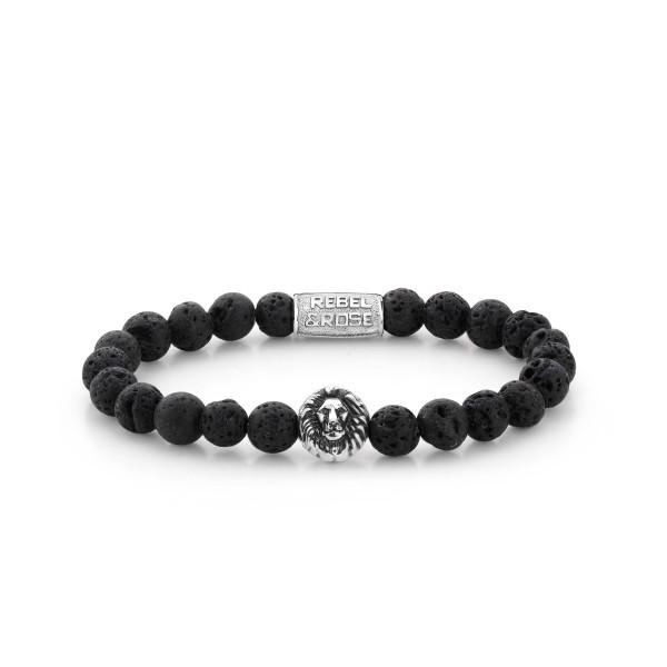 Rebel & Rose Stones Lion Head Black Moon