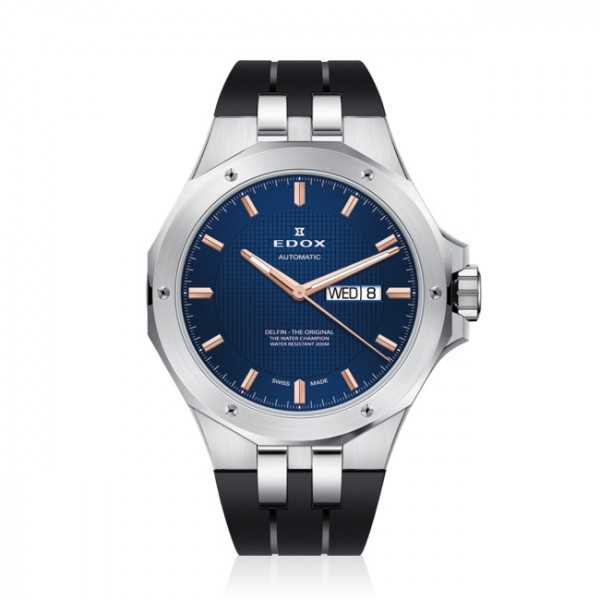 Edox Delfin Day Date Automatic Blue - 88005-3CA-BUIR