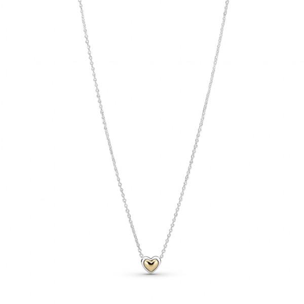 Pandora Halskette mit Anhänger Gewölbtes Goldenes Herz - 399399C00-45