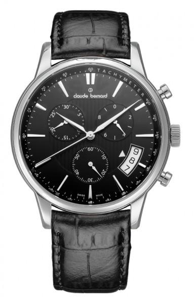 Claude Bernard Classic Quarz Chronograph Silber Schwarz - 01002-3-NIN