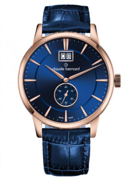 Claude Bernard Classic Big Date Small Second Rosegold Blau- (64005-37R-BUIR3)