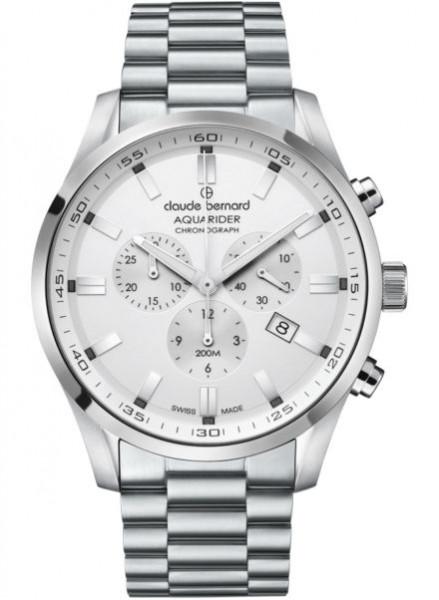 Claude Bernard Aquarider Chronograph Silber Weiss Stahl (10222-3M-AIN)