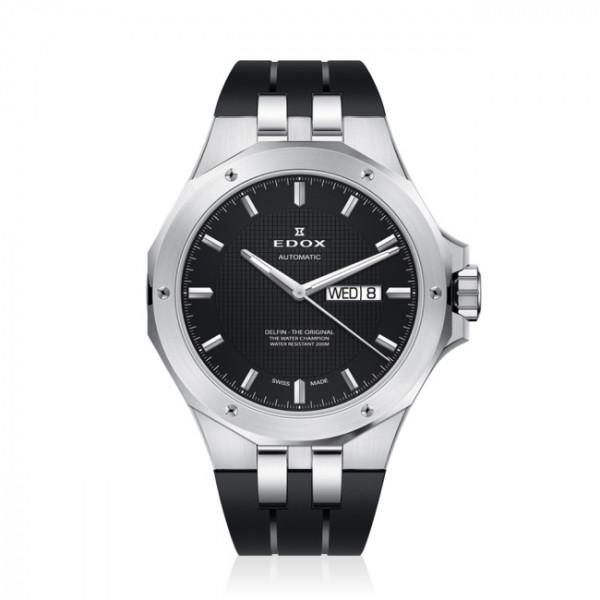 Edox Delfin Day Date Automatic Black - 88005-3CA-NIN
