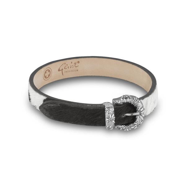 Gexist Edelweiss Leder Armband Schwarz Weiss Silber - B-9010