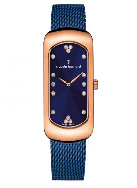 Claude Bernard Damenuhr Dress Code Small Rosé Blue Mesh -20227-37RMBU-BUPR