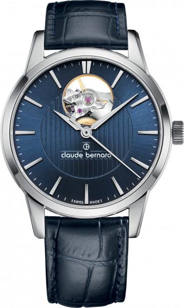 Claude Bernard Classic Automatic Open Heart Silber Blau - 85018-3-BUIN