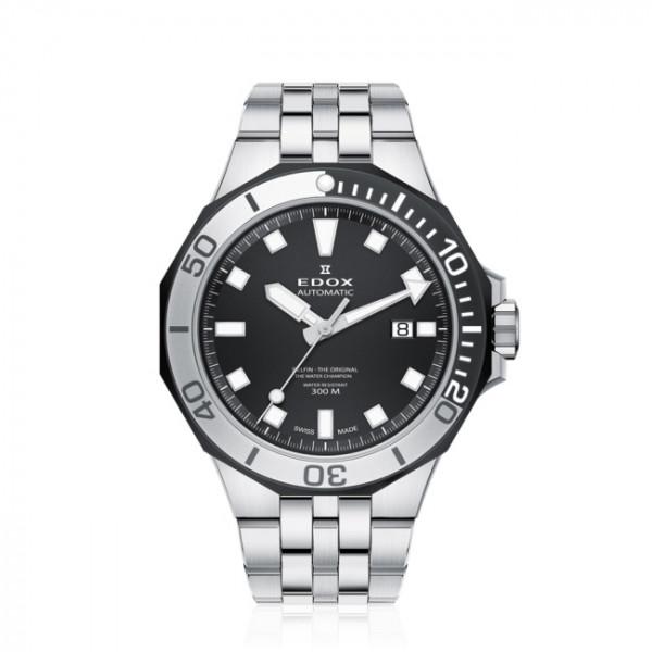 Edox Delfin Diver Date Automatic Silver Black - 80110-357NM-NIN
