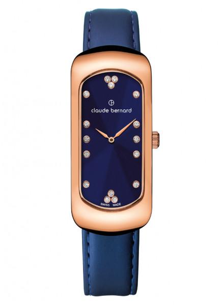 Claude Bernard Damenuhr Dress Code Small Rosé Blue - 20227-37R-BUPR