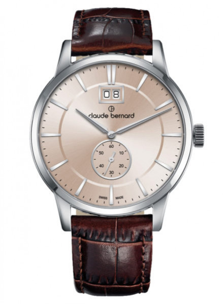 Claude Bernard Classic Big Date Small Second Silber Beige - 64005-3-AIN3
