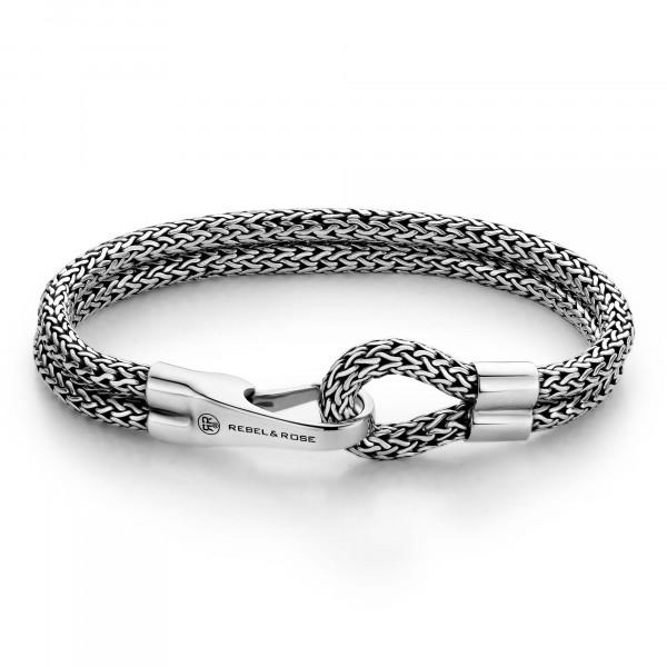 Rebel & Rose Silver Line Double Hooked Bracelet