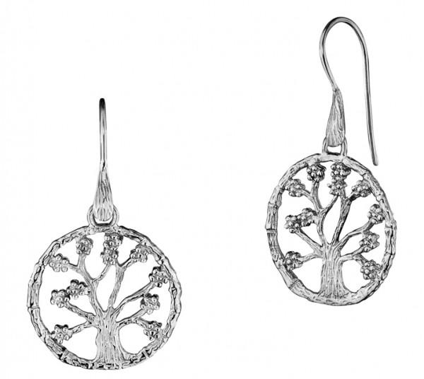 Ohrhänger, Lebensbaum Silber rhodiniert Ø 3,5 cm, Julie Julsen - JJER8725.1
