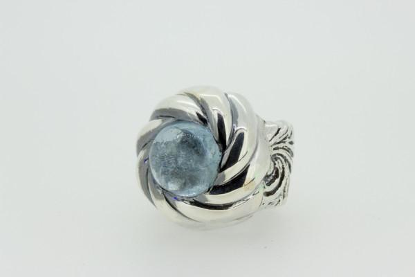 ElfCraft Ring Magic Plant L band + spiral, blauer Zirkonia, Gr. 56