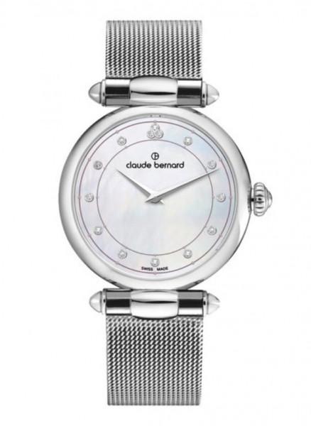 Claude Bernard Schweizer Dress Code Two Hands Silver mit Swarowski Steine Quarz Uhr - 20508-3M-NAN