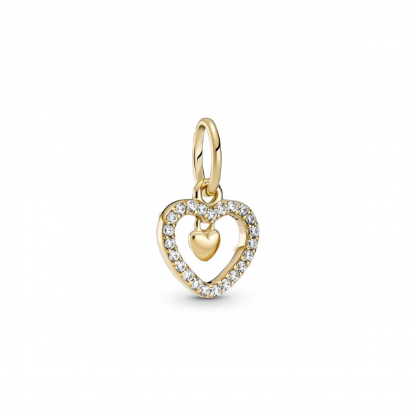 Pandora Gold Charm Funkelndes Doppelherz - 759142C01