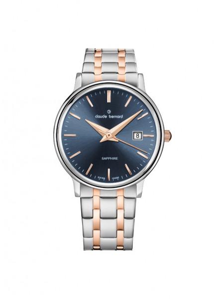 Claude Bernard Classic Gents Ladies Silber Blau Rose Quarz Uhr Stahl small - 54005-357RM-BUIR_1
