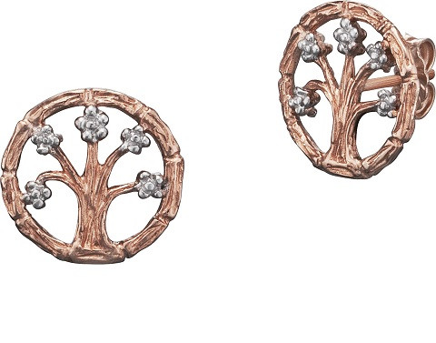 Ohrstecker, Lebensbaum rosévergoldet mit Silber Blüten Ø 1,4 cm, Julie Julsen