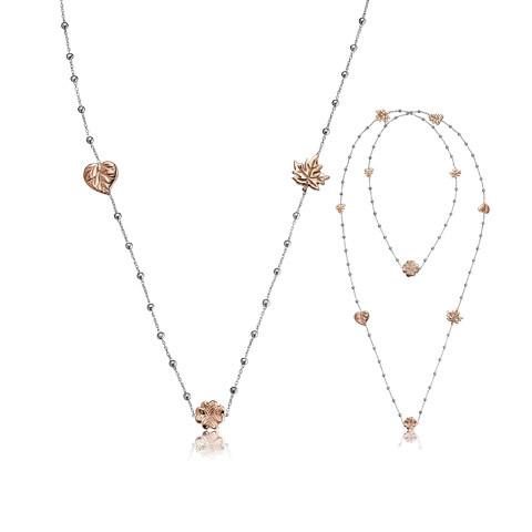 Schmuckkette 10 Blätter Silber rosévergoldet, Julie Julsen Silber Petite Collection - JJNE10302.4
