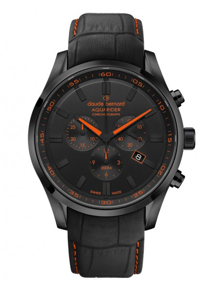 Claude Bernard Aquarider Schwarz Orange Quarz Chronograph - 10222-37NC-NINOO_1