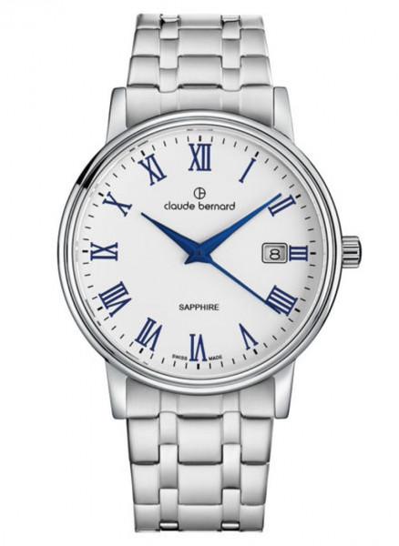 Claude Bernard Schweizer Quarz Uhr Classic Gents Ladies Silber Stahl - 53007-3M-ARBUN