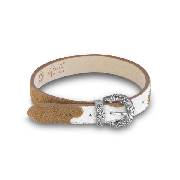 Gexist Edelweiss Leder Armband Braun Weiss Silber - B-9011