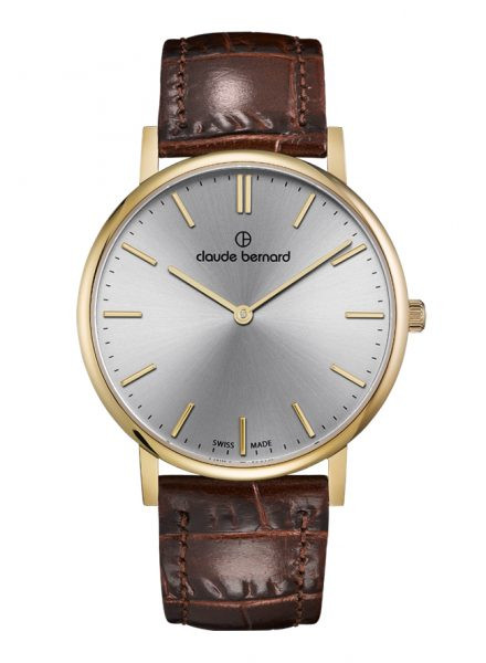 Claude Bernard Classic Slim Line Gold Silber Quarz Uhr - 20219-37J-AID